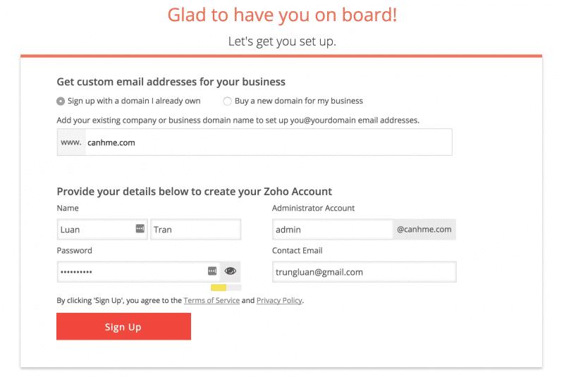 setup zoho mail account 2
