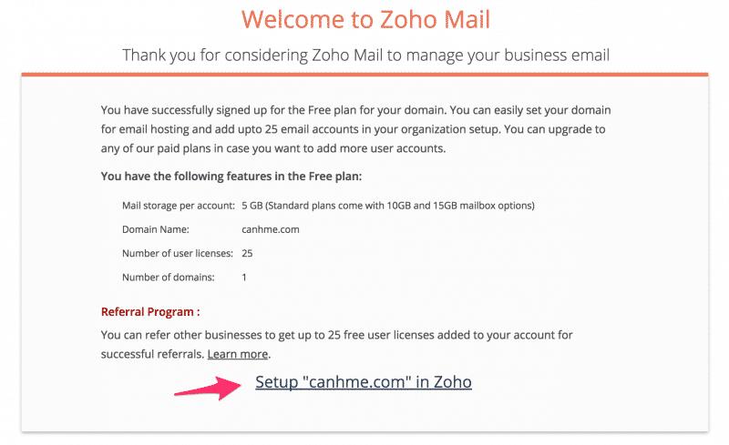 Setup Zoho mail account 3