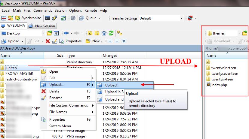 Upload theme via FTP protocol